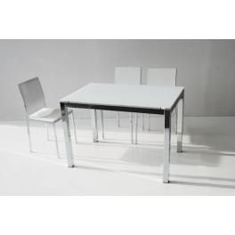 Tavolo allungabile CLIO in metallo satinato o cromato e piano in vetro bianco