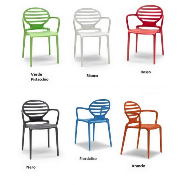 Sedia COKKA CHAIR CONTRACT bar,sedie braccioli polipropilene colorate esterno IMBILABILI,SEDIE ...