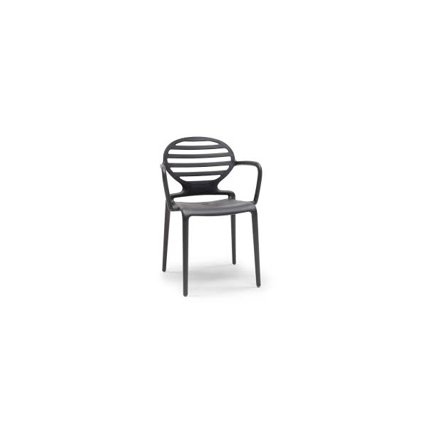 Poltroncine nere con braccioli in polipropilene modello Cokka Chair