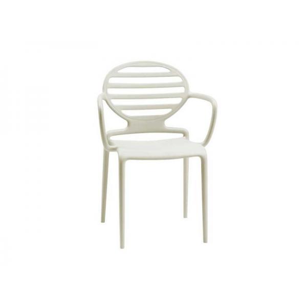 Poltroncine bianche con braccioli in polipropilene modello Cokka Chair