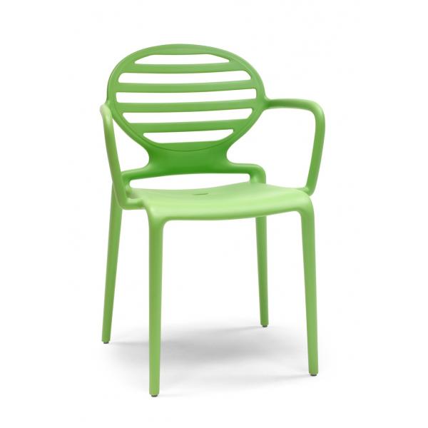 Poltroncine verdi con braccioli in polipropilene modello Cokka Chair