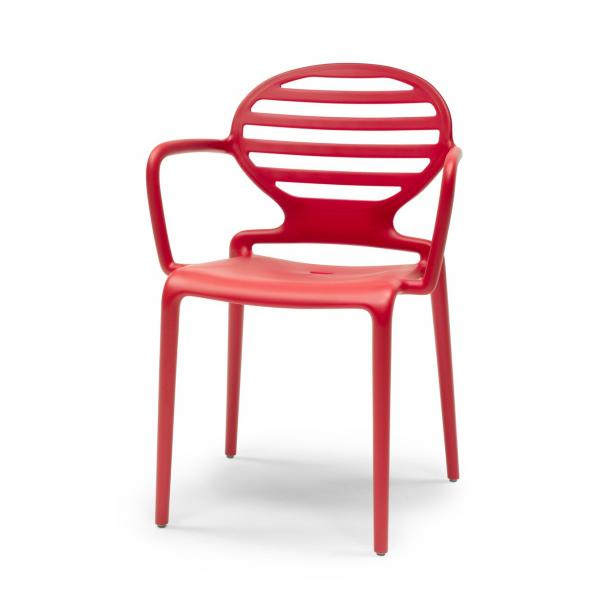 Poltroncine rosse con braccioli in polipropilene modello Cokka Chair