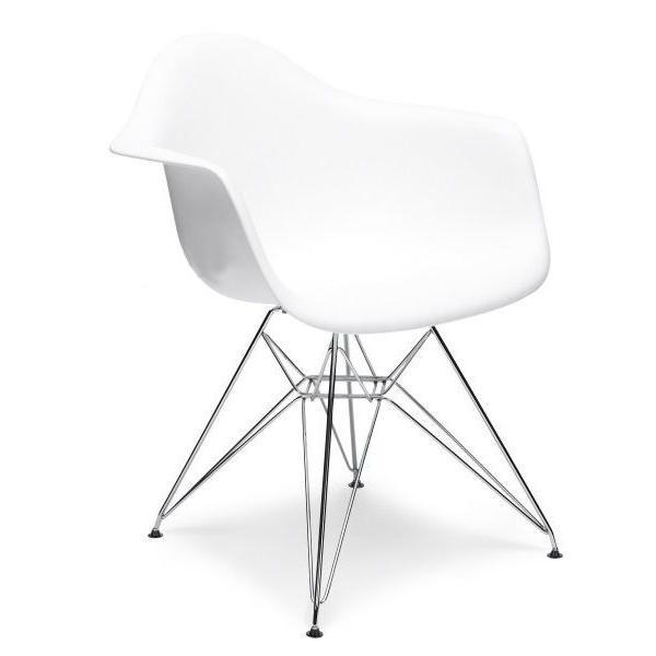 Poltrone design bianche Eiffel chair Eames in acciaio e polipropilene