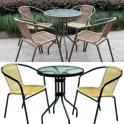 FLOWER - Tavolo diametro 60cm, struttura in metallo e piano in vetro temperato per giardino, bar, esterno