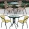 Tavolo FLOWER diametro 60cm, struttura in metallo e piano in vetro temperato per giardino, bar