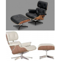 Poltrona e pouf simil Eames Chaise Lounge Chair Stile in pelle