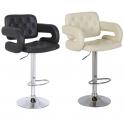 SCHIC - Sgabello bar ecopelle bianca o nera gamba cromata casa, ufficio, bar, negozio, ristorante, hotel, salone parrucchiere