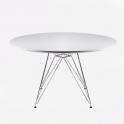 EAMES STYLE - Tavolo base in faggio piano in MDF bianco e nero tondo diam.80,100,120 o 60x60,80x80,120x80cm