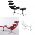 Poltrona Relax Corona Chair e poggiapiedi  in tessuto, pelle vera