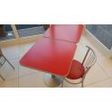 Tavolo usato 70x70 metallo top rosso per bar, ristorante, hotel