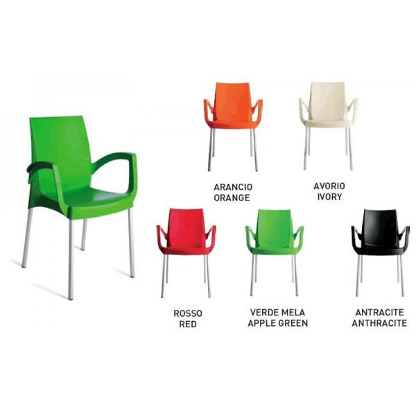 Poltrona esterno economica sedie con braccioli colorate for Sedie a poltrona