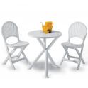 Set Brio - un tavolo tondo diam.65cm e due sedie in ecoresina per giardino, casa, bar, pizzeria Grand Soleil