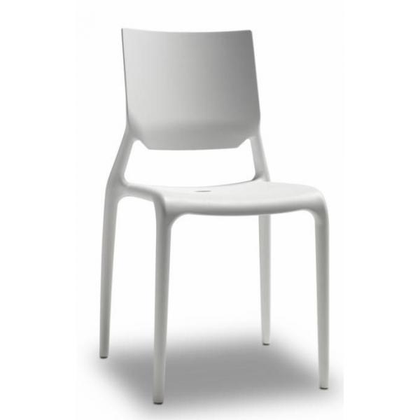 Sedie bianche per alberghi, bar, casa in polipropilene rinforzato modello Sirio
