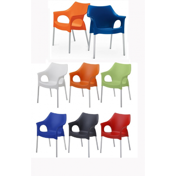 gratuita sedia poltrona impilabile in polipropilene con gambe in alluminio