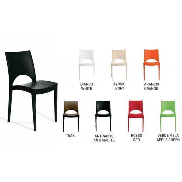 Sedia moderna impilabile modello Paris - Sedia moderna impilabile modello Paris. Sedie moderne per casa, cucina, soggiorno, ufficio, sala d'attesa, sala conferenze, bar, ristorante, pub, pizzeria, gelateria, pasticceria, negozio, albergo, discoteca al miglior rapporto prezzo - qualità. Sedia PARIS in polipropileneᅠadatta sia per ambienti interni che esterni, impilabile, robusta e leggera. Disponibile in colori: BIANCO, ANTRACITE, ROSSO, AVORIO, ARANCIO, VERDE MELA, TEAK.