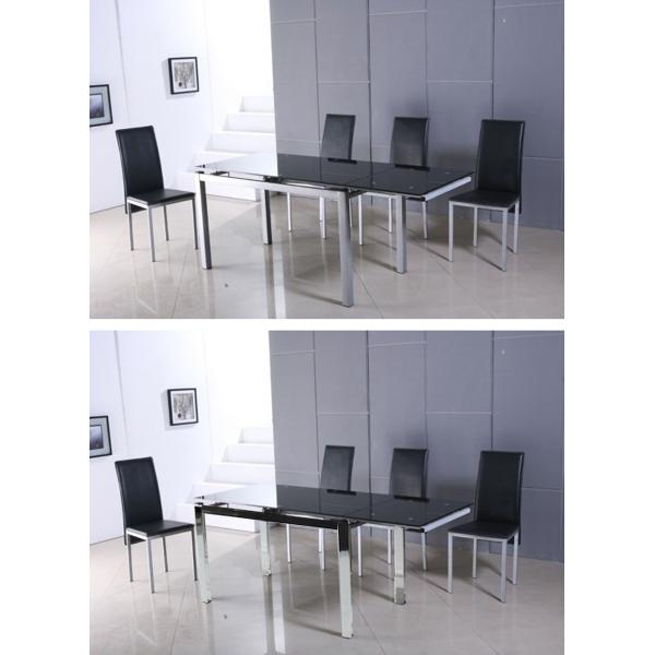 Tavolo allungabile clio in metallo satinato o cromato e - Tavolo in vetro nero ...