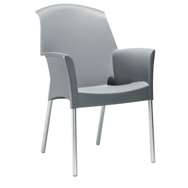 Sedia super jenny impilabile in polipropilene con gambe in for Sedie alluminio design