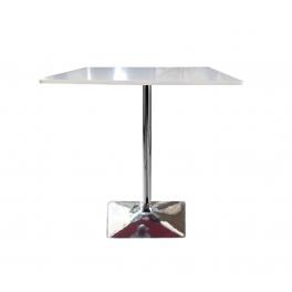 Tavolo saturno qlq con gamba centrale cromata e top in mdf laccato lucido mondoarreda - Tavolo quadrato gamba centrale ...