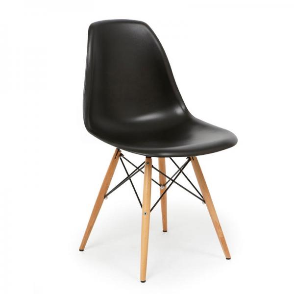 Dsw eiffel chair eames sedia in polipropilene e gambe in legno for Sedie policarbonato nere