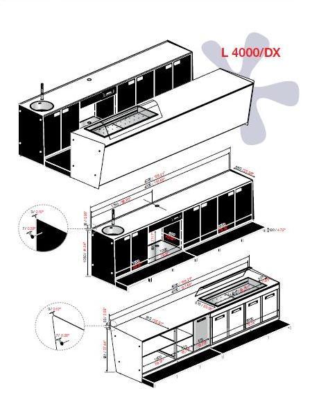 """Start up è un nuovo modo di intendere il banco pasticceria. Un' unità essenziale che rende accessibile, a chiunque la scelta di cominciare una propria attività aprendo un locale (bar, pizzeria, ristorante, fast food, gelateria, panetteria) che integra tutti i servizi indispensabili al suo funzionamento:  - Cella con refrigerazione ventilata - Drop-in """"A-Plus"""" per l'esposizione di food & Beverage - Postazione per macchina caffè - Lavello con miscelatore mono leva"""