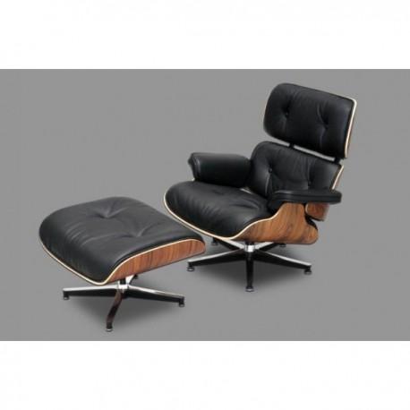 fauteuils et pouf simili eames lounge chair stile v ritable cuir grain blanc ou noir. Black Bedroom Furniture Sets. Home Design Ideas