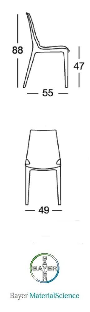Bayer Material Science - Sedie per ristoranti impilabili in policarbonato modello Vanity. Sedie moderne anche per casa, cucina, soggiorno, ufficio, sala d'attesa, sala conferenze,  bar, pub, pizzeria, gelateria, pasticceria, negozio, albergo, discoteca al miglior rapporto prezzo - qualità.
