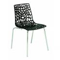 GROOVE - sedia impilabile in polipropilene gambe in acciaio cromato per casa, ufficio, bar, ristorante, hotel GRAND SOLEIL