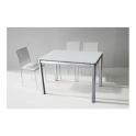 CLIO-Tavolo allungabile in metallo satinato piano in vetro bianco casa villa pranzo