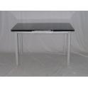 CLIO-Tavolo allungabile metallo satinato, piano in vetro nero casa villa pranzo