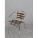 SOFIA - sedia (poltrona) in alluminio, doppio tubolare e legno da esterno per bar, ristorante, piscina, hotel