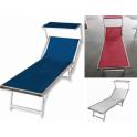 SUNNY BEACH - Lettino prendisole 2° scelta in alluminio, due posizioni con tettuccio mare, spiaggia