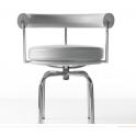 LC7 - Poltroncina girevole Chaise Longue in ecopelle(pelle ecologica), vera pelle fiore stile Le Corbusier Bauhaus