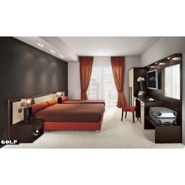Arredo camera d 39 albergo matrimoniale tripla in legno for Arredo camere albergo