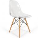 DSW Eiffel chair Eames - Sedia 2°scelta in Policarbonato trasparente gambe in legno