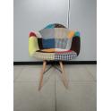 DAW Eiffel chair Eames - Poltrona imbottita rivestimento PATCHWORK, gambe in legno