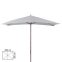 SUN 2 - Ombrellone professionale 3x2 con palo centrale in legno per bar, giardino, spiaggia, mare