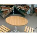 Saturno RW - Tavolo con gamba in acciaio cromato e piano in werzalit da esterno bar albergo