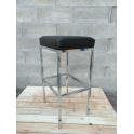 CUBANA - Sgabello bar senza schienale ecopelle nero struttura acciaio cromato casa, bar, ristorante, hotel