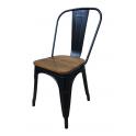 Metal Wood - Sedia stile industriale simil Tolix colore Nero opaco seduta in legno per casa, bar, ristorante, catering, albergo