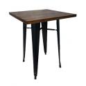 Metal Wood - Tavolo stile industriale simil Tolix colore nero opaco top in legno per casa bar ristorante catering albergo