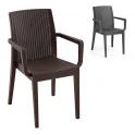 Siena - Poltrona sedia con braccioli impilabile simil rattan bar ristorante hotel