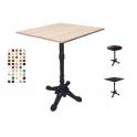 LION – Tavolo con gamba in metallo lavorata a 4 piedi e TOP in legno melamminico