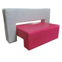 Carisma - Divanetto per bar e poltroncina Contract personalizzati per locali in ecopelle (pelle ecologica), tessuto.