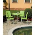 BOULEVARD - Pila da 30 tavoli Grand Soleil IMPILABILI  70X70 in polipropilene con Gambe in Alluminio esterno bar ristorante
