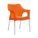 OLA SPED.GRATUITA - Poltrona Impilabile in polipropilene con gambe in alluminio bar hotel SCAB DESIGN certificata per uso locali