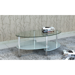 Tavolino da salotto CT609 in vetro temperato e metallo ...