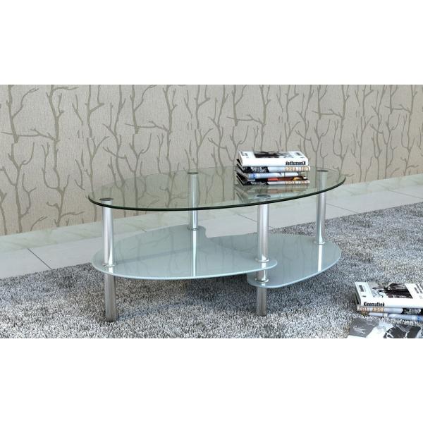 Tavolini Salotto Vetro Temperato.Tavolino Da Salotto Ct609 In Vetro Temperato E Metallo Cromato